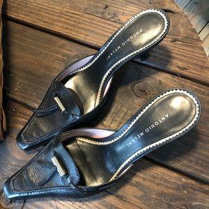 Antonio Melani Leather Kitten Heels